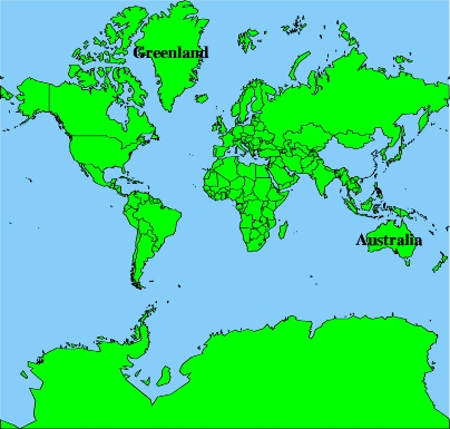 Distortions inherent in projections this mercator map suffers badly from compression the map shows greenland much larger than australia but in reality australia is about 25 times larger gumiabroncs Image collections