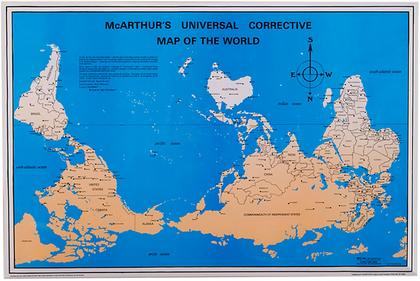 The upsidedown map page world maps with south at the top mcarthurs universal corrective map of the world gumiabroncs Image collections